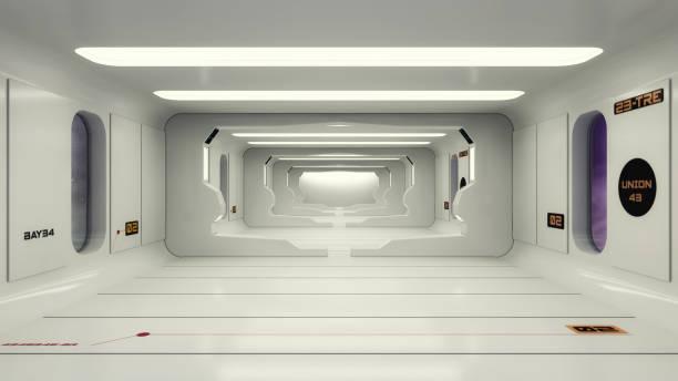 rendu 3d. conception de vaisseau intérieur futuriste - vaisseau spatial photos et images de collection