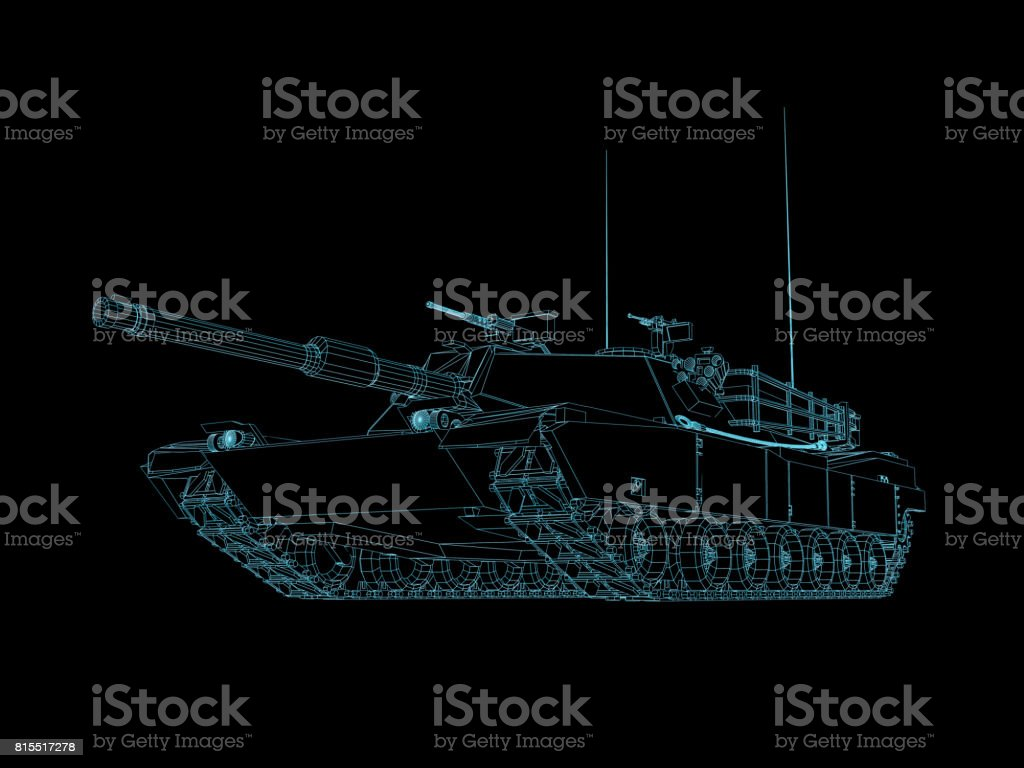 3D Render futuristic Military battle tank wire frame front stock photo