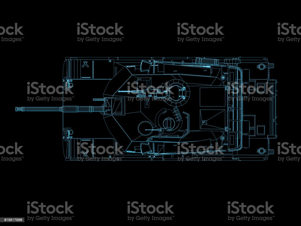 3d Render Futuristic Military Battle Tank Wire Frame Top Stock Photo Modern Schematics Royalty Free