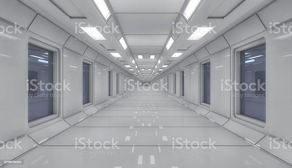 3d Render Futuristic Spaceship Interior Architecture Stock