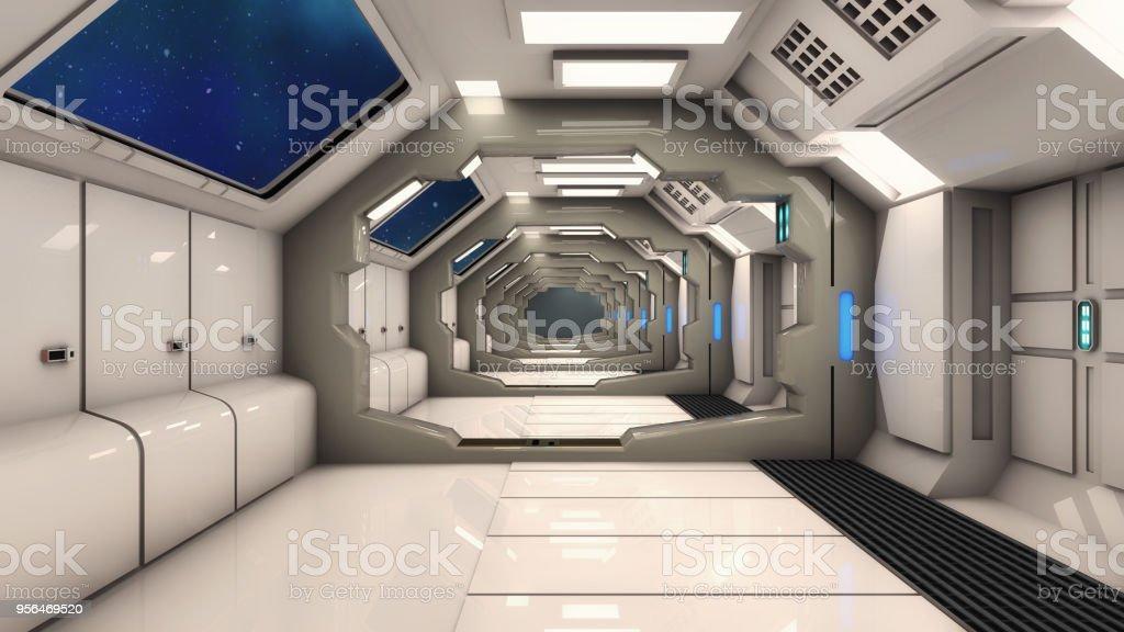 3d Render Futuristic Spaceship Interior Corridor Stock Photo