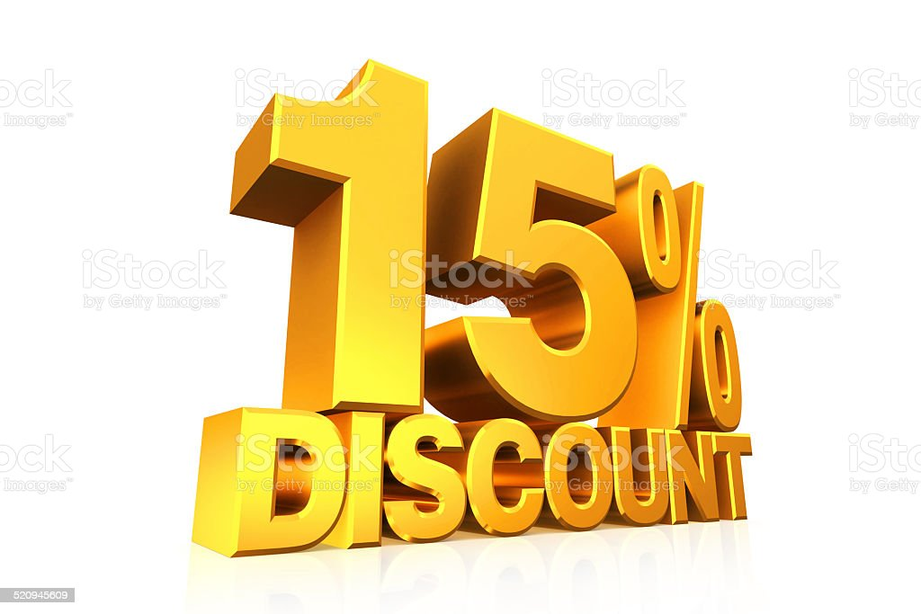 3D render gold text 15 percent discount. stock photo
