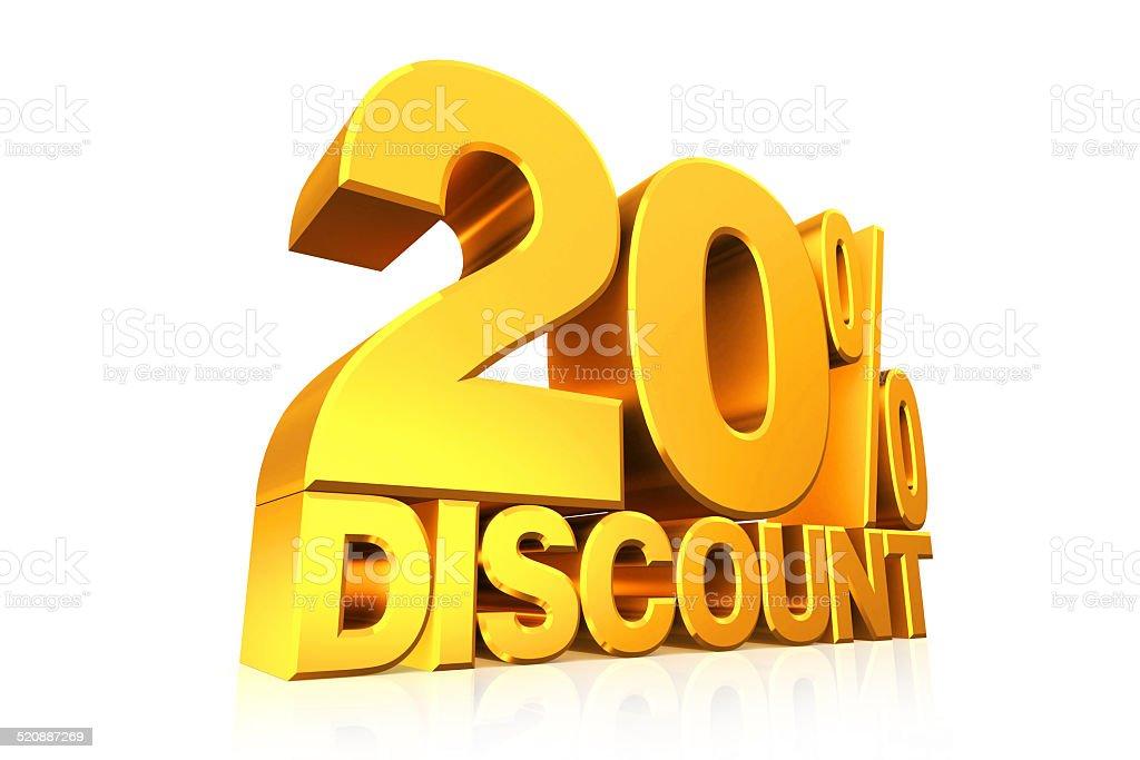 3D render gold text 20 percent discount. stock photo