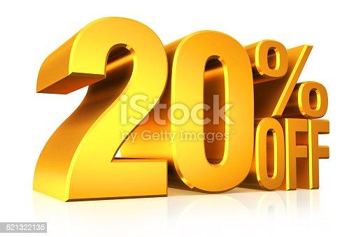 istock 3D render gold text 20 percent off. 521322135