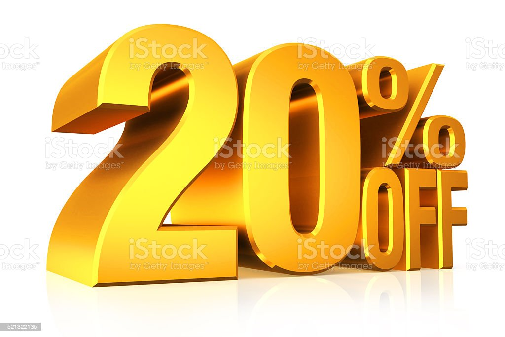 3D render gold text 20 percent off. stock photo
