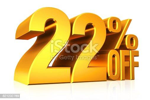 istock 3D render gold text 22 percent off. 521232789