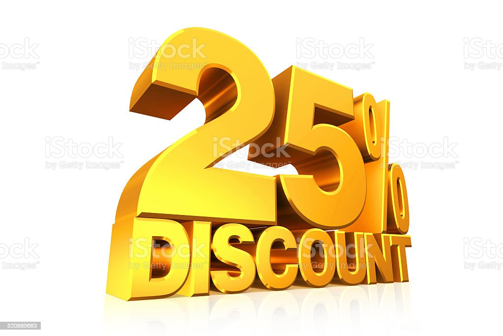 3D render gold text 25 percent discount. stock photo