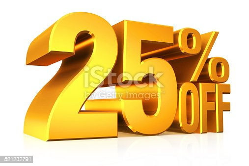 istock 3D render gold text 25 percent off. 521232791