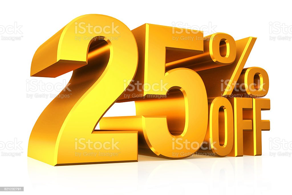 3D render gold text 25 percent off. stock photo