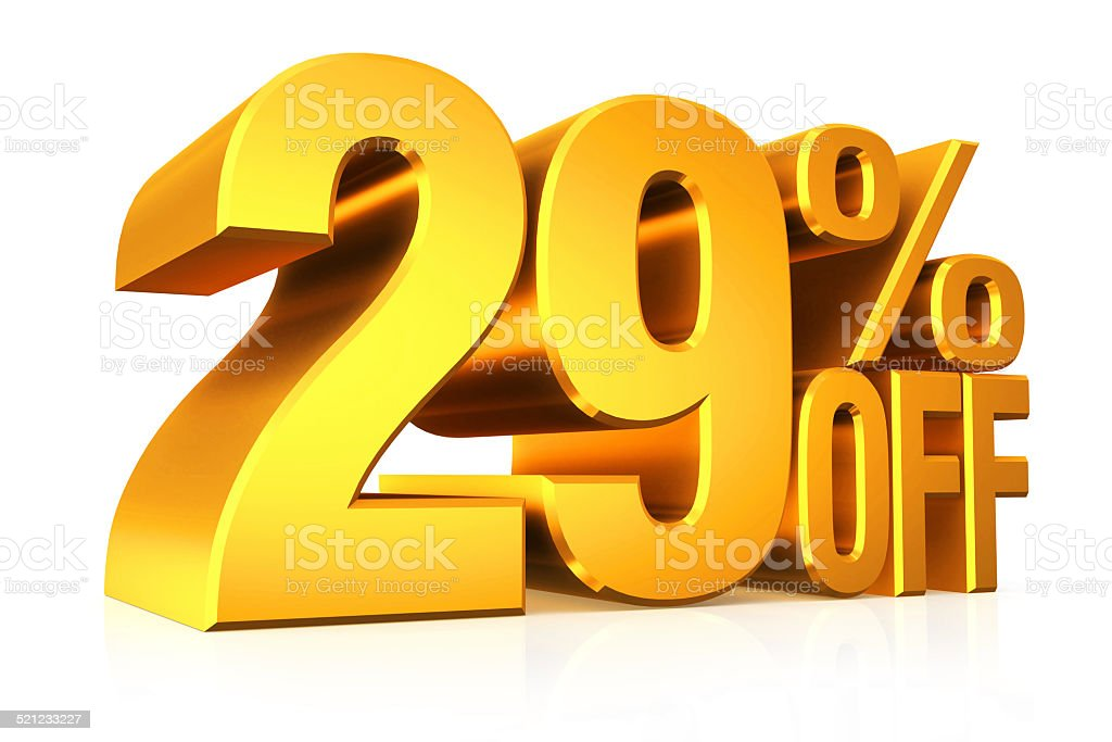 3D render gold text 29 percent off. stock photo