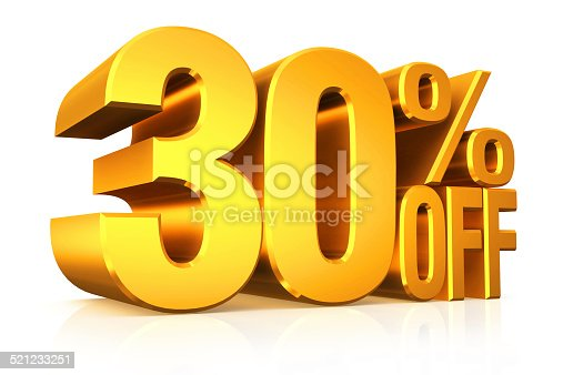 istock 3D render gold text 30 percent off. 521233251
