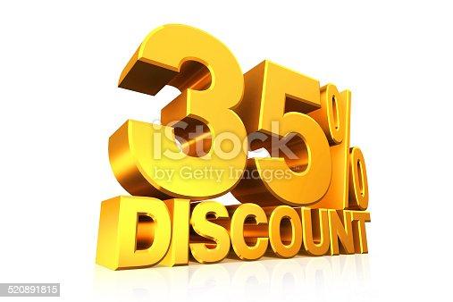 906580458 istock photo 3D render gold text 35 percent discount. 520891815