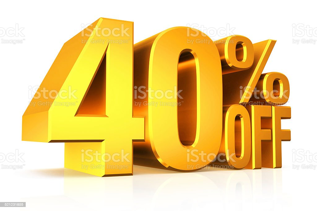 3D render gold text 40 percent off. stock photo