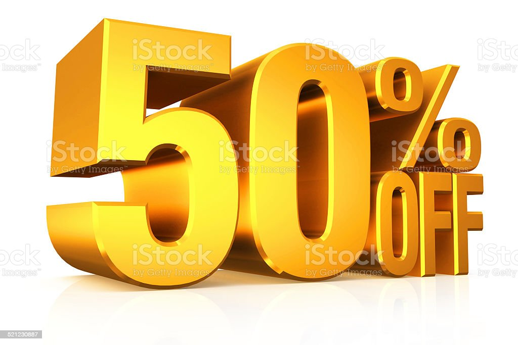 3D render gold text 50 percent off. stock photo