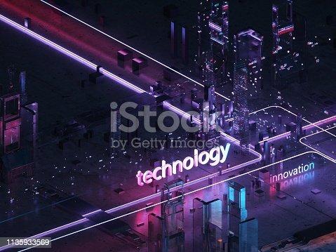 1082409706 istock photo Render hologram futuristic 3d city neon light glossy 1135933569