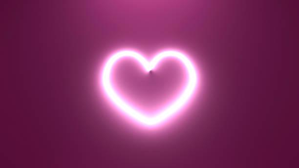 3D render illustration neon heart light on the wall stock photo