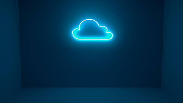 3D render illustration of cloud neon light sign on the wall stock photo