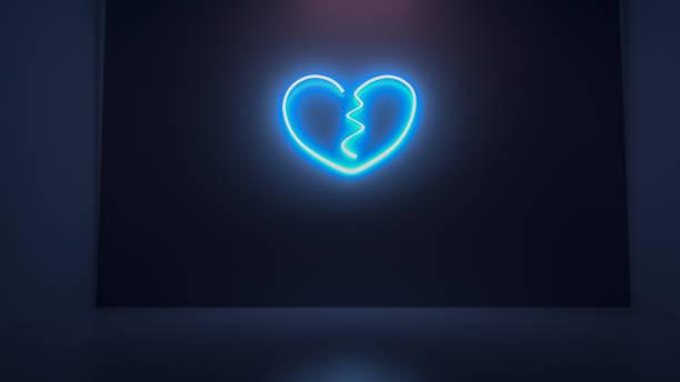 3D render illustration of heart break neon light sign on the wall stock photo