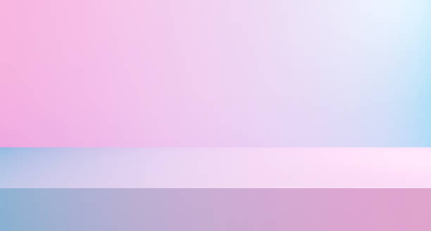 3D render illustration of pastel blue gredient to pink color studio background or texture. Abstract room in modern minimal concept. Blank product display on website design graphic and web banner. stock photo