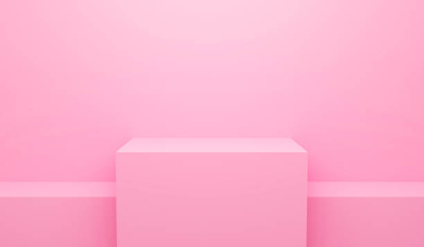 3D render illustration of pink abstract geometric background or texture. Bright pastel podium or pedestal backdrop. Blank minimal design concept. Stage for awards ceremony on website in modern. stock photo