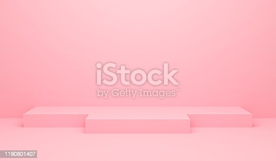 3D render illustration of pink abstract geometric background or texture. Bright pastel podium or pedestal backdrop. Blank minimal design concept. Stage for awards ceremony on website in modern.