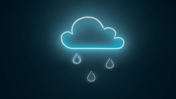 3D render illustration of rain cloud neon light sign on the wall stock photo