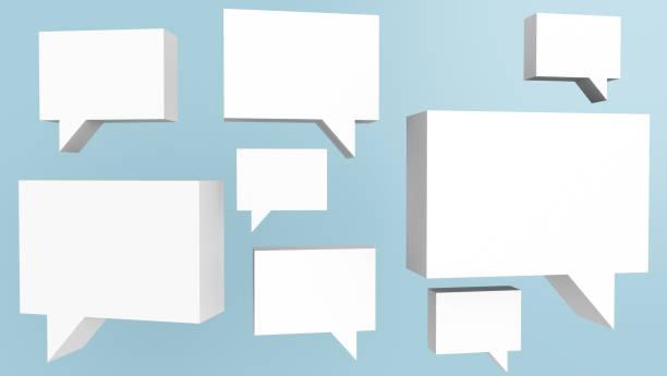 3D render illustration of speech bubble represent communication stock photo