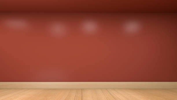 3D render illustration of the empty room interior wall with the wooden floor stock photo