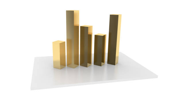 3D render illustrations of graph chart showing business statistic stock photo