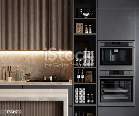 3D rendering of a modern kitchen interior. 3d image of a modern kitchen interior design with stoke, shelf and appliances.