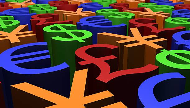 3D Render image of Currency Signs stock photo