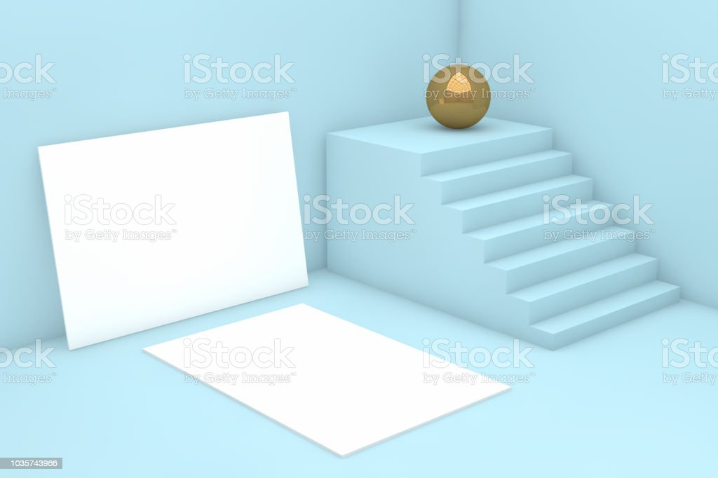 3d Render Minimal Blank White Paper Card Template With