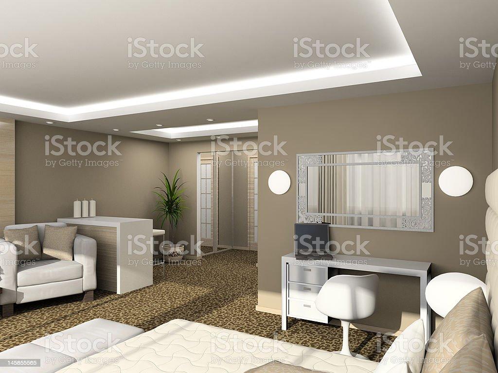 3D render modern interior of bedroom royalty-free stock photo