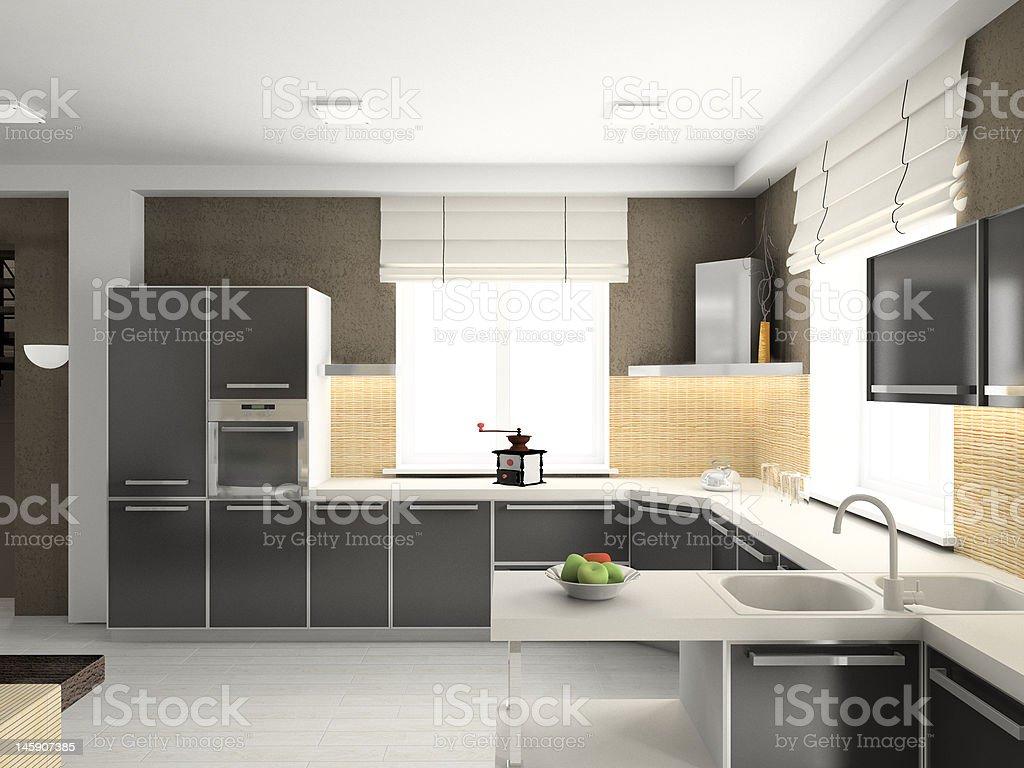 3D render modern interior of kitchen royalty-free stock photo