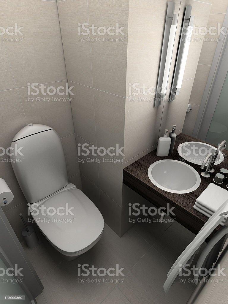 3D render modern interior of toilet royalty-free stock photo