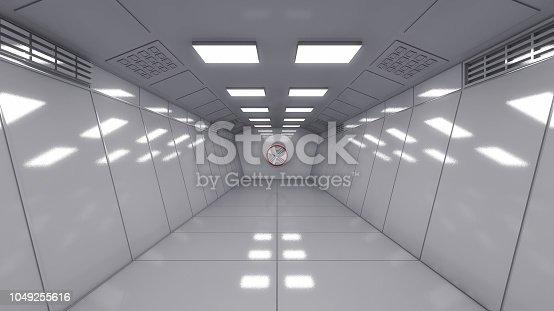 830306120 istock photo 3D render. Modern interior scifi architecture 1049255616