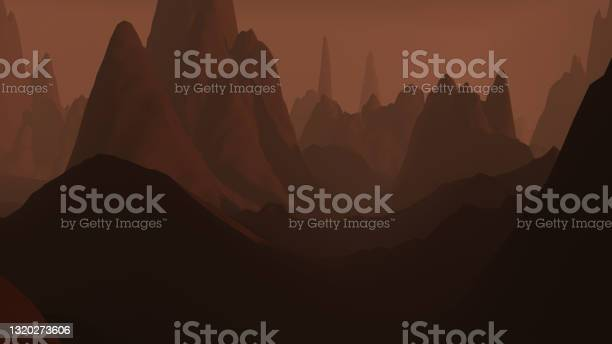 Photo of 3D render mountain landscape having planet mars-like environment. early morning view between hill scenery.