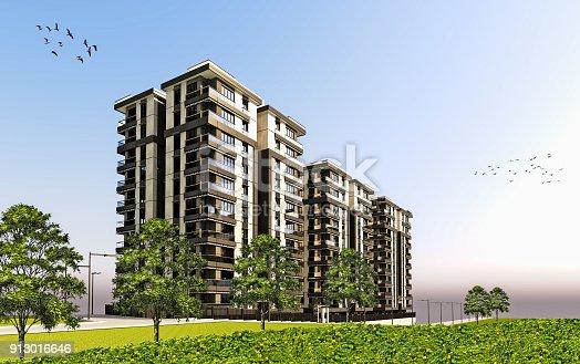 585292106 istock photo 3D render of 3 building exterior 913016646