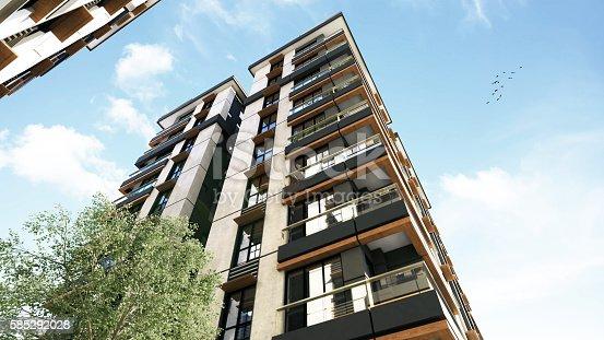 istock 3D render of 3 buildings exterior 585292028
