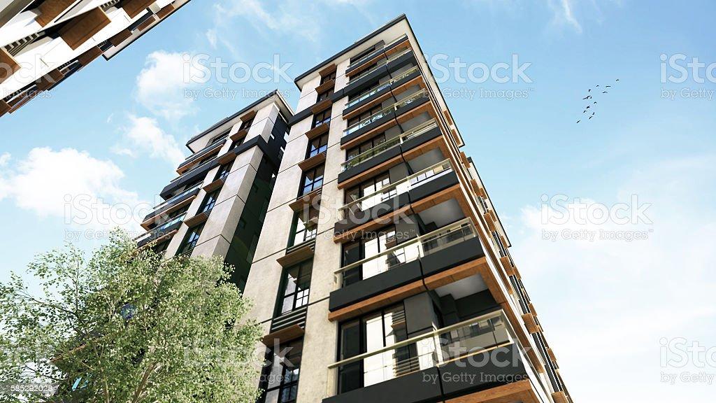 3D render of 3 buildings exterior stock photo
