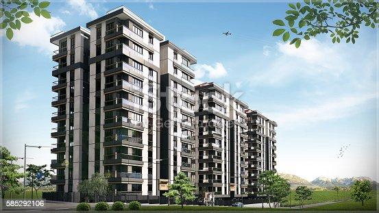 istock 3D render of 3 buildings exterior 585292106