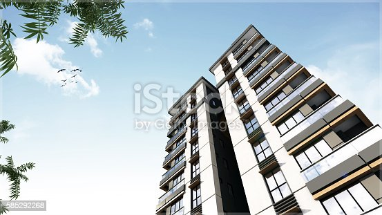 585292106 istock photo 3D render of 3 buildings exterior 585292268