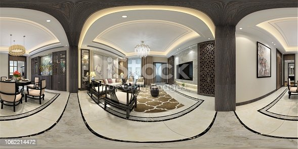 938518926istockphoto 3D Render of 360 degrees living room 1062214472