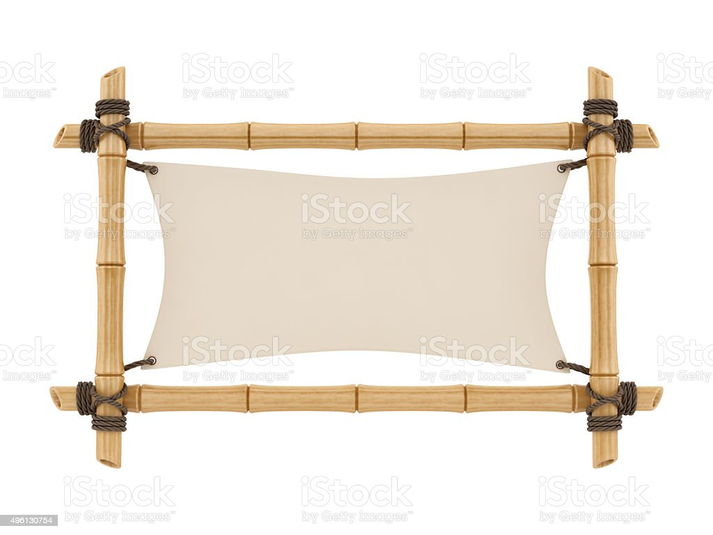 render of a bamboo sign stock photo