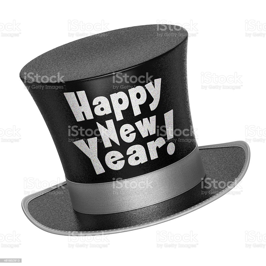 3D render of a black Happy New Year top hat stock photo