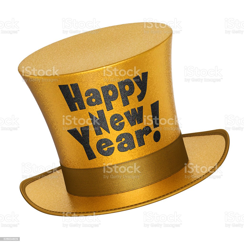 3D render of a golden Happy New Year top hat stock photo