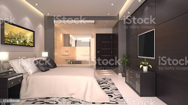 Render of a hotel room interior with a bed picture id474588595?b=1&k=6&m=474588595&s=612x612&h=ue7zp xf9wbtkeszrie58y0zl ydbjcw9sdvvizar3g=