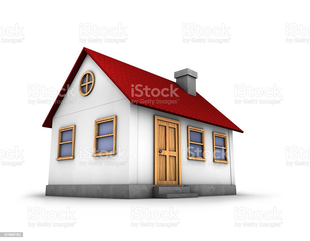 3D render of a house royalty-free stock photo