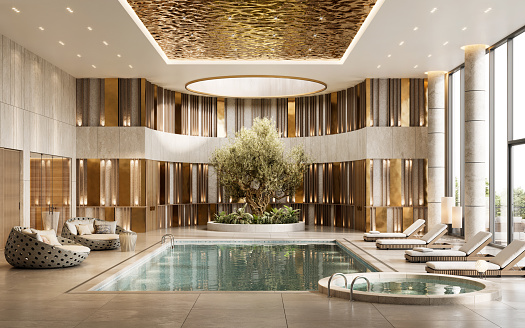 3D render of a luxury hotel swimming pool. Beautiful designed five-star hotel indoor swimming pool with lounges and deck chairs
