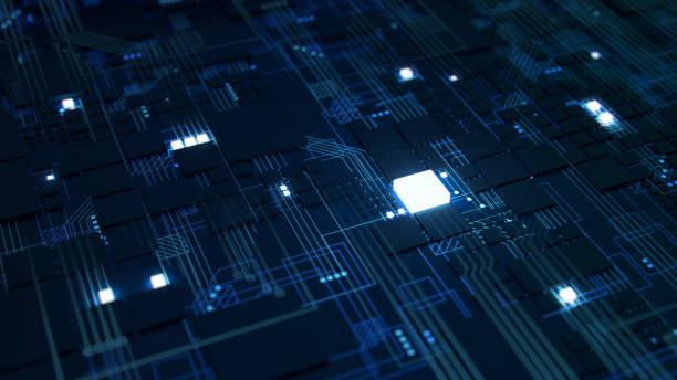 3 d は、マクロの表示、未来的な電子基板のマイクロ チップとプロセッサのレンダリングします。技術背景コンセプト。 - 半導体 ストックフォトと画像